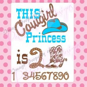 Custom Birthday Cowgirl Princess, onesie or Tee Shirt, creeper, T-Shirt