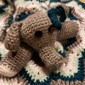 Elephant lovey baby blanket/Security blanket Handmade, New Baby Gift, Chevron stripe