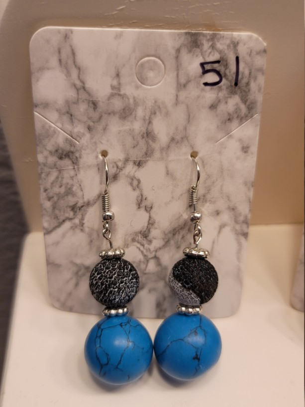 Blue and black bead earrings