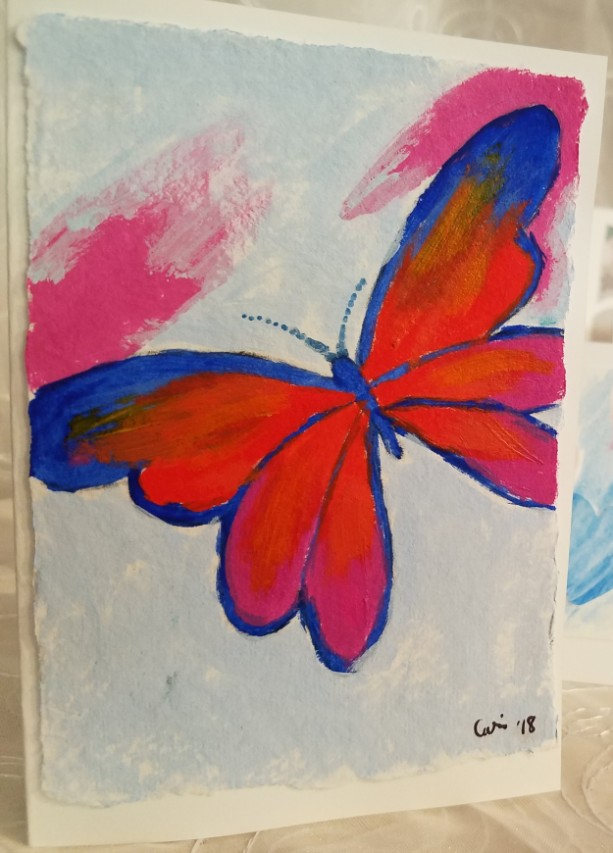Hand-painted Butterfly Blank Notecards, 5-Pack