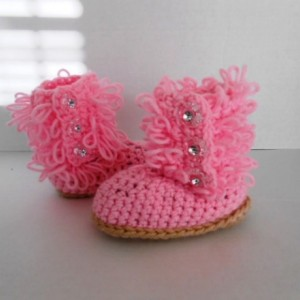 Pretty Little Pink Diva Slipper Boots  hand crochet by Kam