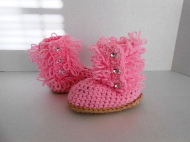 Pretty Little Pink Diva Slipper Boots  hand crochet by Kam