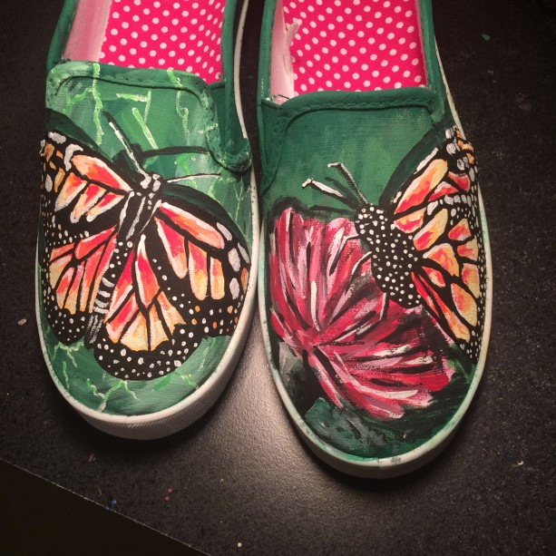 Handpainted Butterfly Shoes