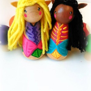 Woodland elf fairy dolls and rainbow mushrooms - Fairy dolls - Fairies - Imaginative gift - Small dolls - Woodland elf doll - Woodland fairy