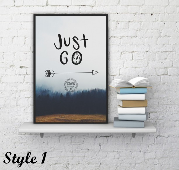 "18x24 ""Just Go"" Wanderlust hand-lettered quote poster compass travel adventure home wall decor"