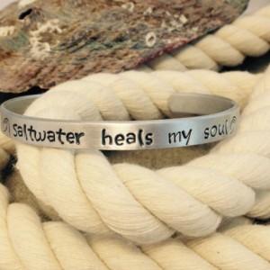Saltwater heals my soul hand stamped bracelet