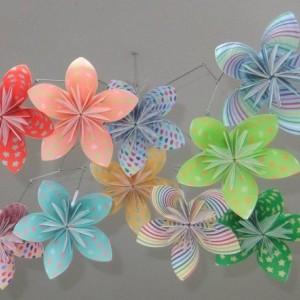 Whimsical Rainbow Flower Mobile, Origami Flower Mobile, Flower Mobile, Nursery Mobile, Baby Mobile, Flower Decor, Nursery Decor, Girl Decor