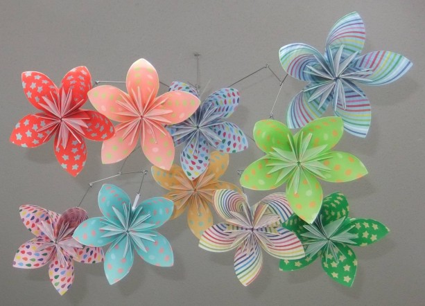 Whimsical Rainbow Flower Mobile, Origami Flower Mobile, Flower Mobile, Nursery Mobile, Baby Mobile, Flower Decor, Nursery Decor, Girl Decor