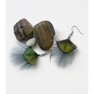 Short Peacock Feather Earrings - Natural Feather Earrings - Iridescent Earrings