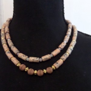 Pink Feldspar with Dzi beads and Lilac stone necklace