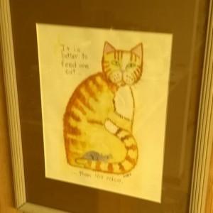 Framed CAT ART PRINT -in 11x14 inch  frame