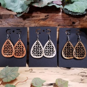 Wooden Earrings - Boho Teardrop Style - Light Weight