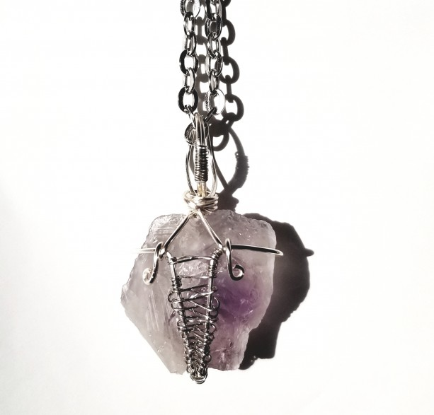 FUSE - Amethyst Quartz Silver Wire Wrapped Necklace