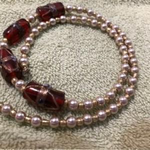 "Pearly Seduction handmade beaded necklace 21"" long"