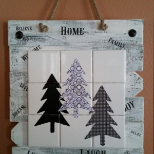 Rustic, handmade, evergreen tree wall hanging