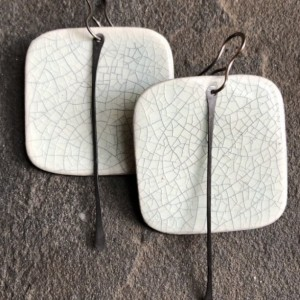 Rounded Square Earrings with Metal Tassel