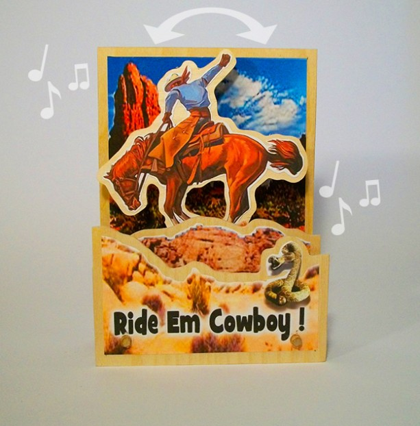 Music Box- Animated Cowboy and Bucking Bronco