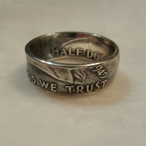 Benjamin Franklin Half Dollar Silver Coin Ring