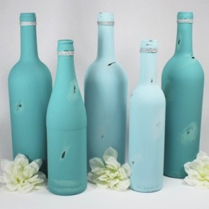 Upcycled Wine Bottle Vases Set of 5