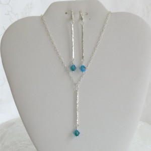 Gorgeous Bold Swarovski Crystal Hammered Sterling Silver Stick Necklace