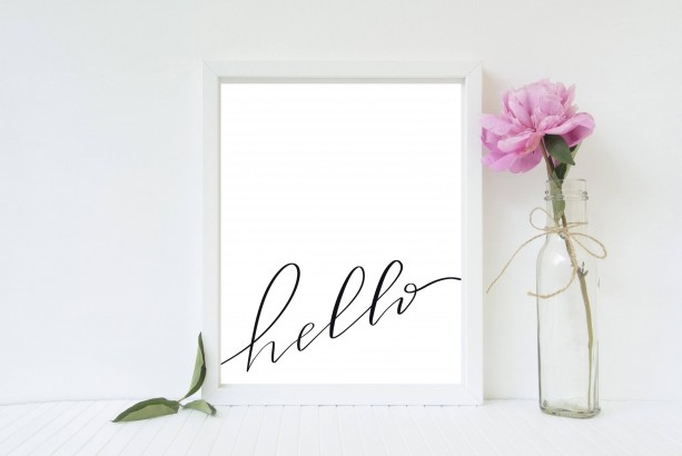 Hand Lettered Hello Print - 8x10