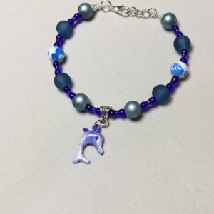 Blue Glass Beaded Bracelet with Dolphin Charm