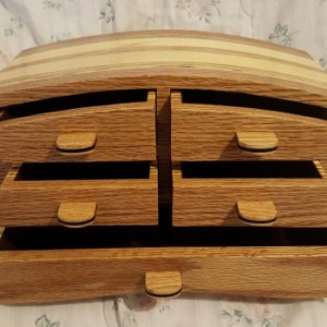 Bandsaw box made from red oak, pine,plywood,and ebony