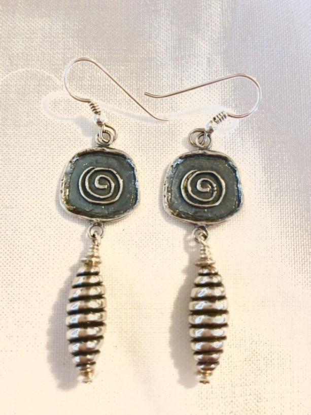 Sterling silver dangle drop earrings