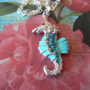 SOLD - Aqua Seahorse Necklace and Earring Set
