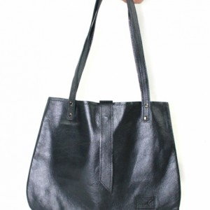 Gray Leather Hobo, leather handbag, dark gray women's tote