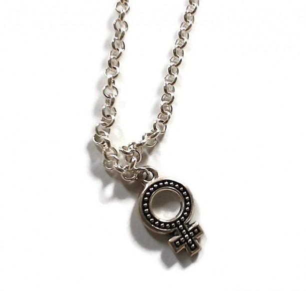 Venus Symbol Necklace Female Symbol Necklace 18 20 Silver Plat