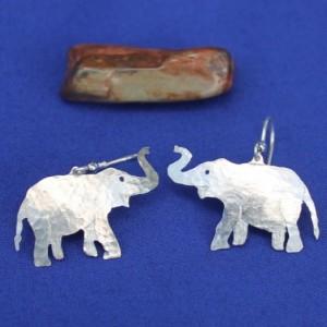 Sterling Silver Elephant Earwire or Post Earrings