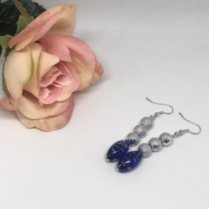 Blue/Silver Dangle Earrings