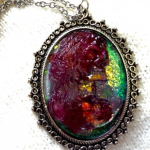 Resin Pendant Skull Cameo Necklace  Glow In The Dark Steampunk