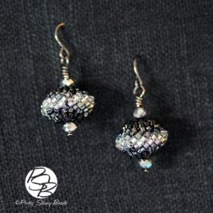 Beaded Bead Earrings – Black & Silver