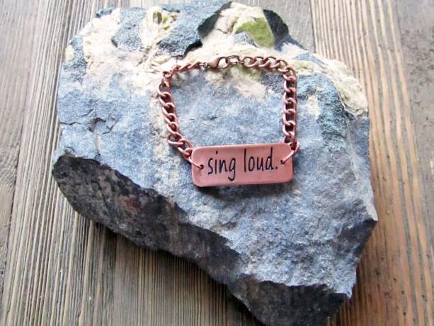 Copper 'Sing Loud' Metal Clay Bracelet
