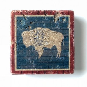 Wyoming Barnwood-Look State Flag Natural Stone Coasters, Set of 4 with Full Cork Bottom