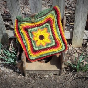 Sunset Sunflower Satchel Messenger Bag Laptop Carrier Purse Crochet Bag