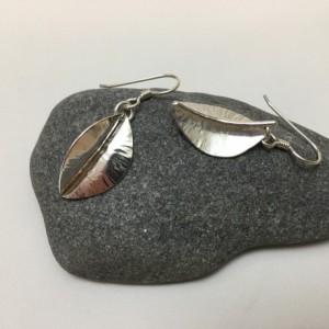Silver Folded Leaf Earrings