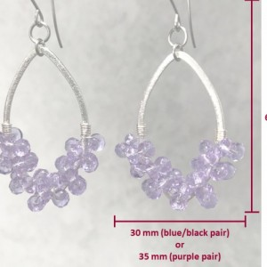 The Harley | handmade crystal marquise earrings, brushed silver, Chinese crystal, Czech glass, wire-wrapped, stainless steel, Gifts for Her