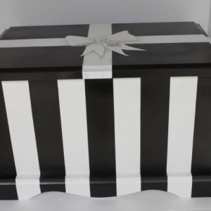 Black & White Stripe Wedding or Anniversary Keepsake Chest Memory Box personalized wedding gift