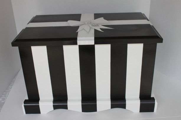 Black & White Stripe Wedding or Anniversary Keepsake Chest Memory Box personalized wedding gift