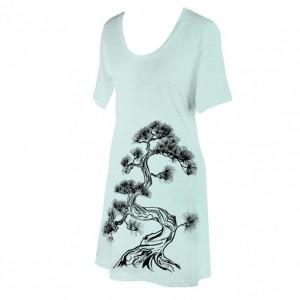 Ash Grey Seafoam Japanese Pine Tree Screen Printed Crewneck T-Shirt Dress, Bonsai, Sumi-e, Botanical, Last One, Made in USA - Size S