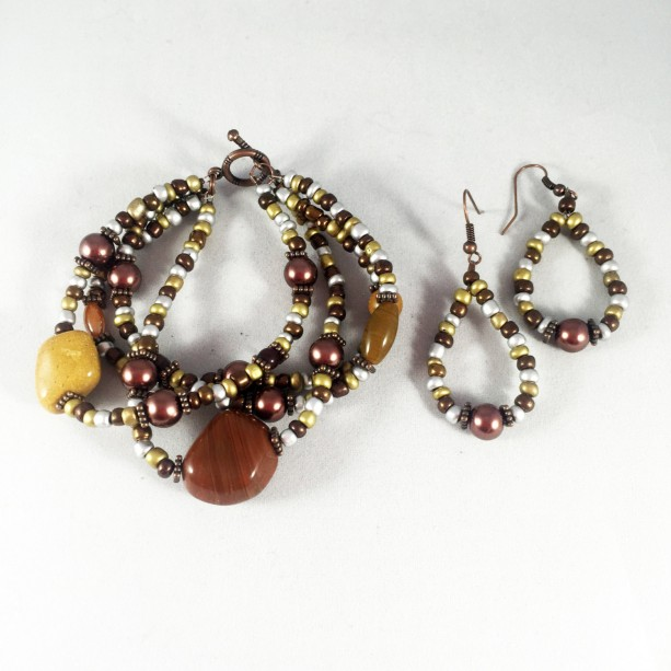 Brown, silver copper and gold glass quadruple strand bracelet and earrings set