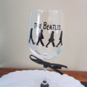 Hand Painted Glass Beatles Stemware 12-oz Wine-Glass