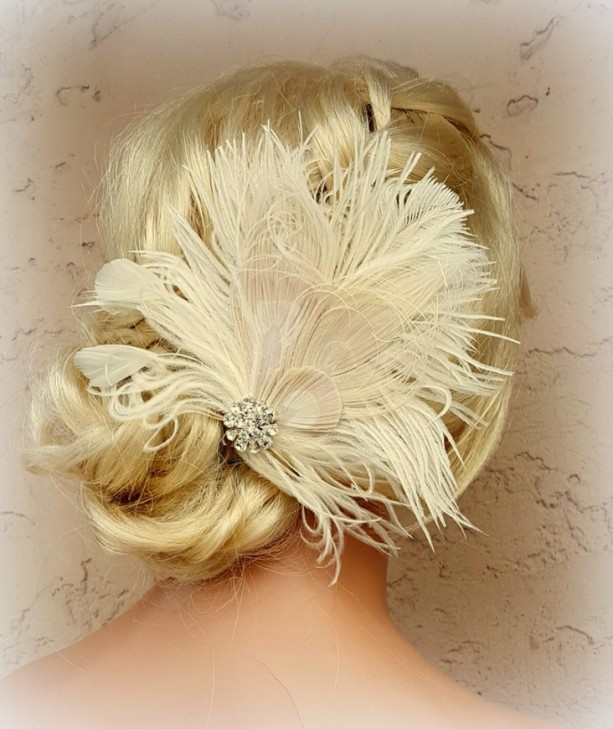 Feather Hair Clip, Feather Fascinator, Wedding Hair Accessories, Bridal Hair Fascinator,Vintage Style Fascinator, Great Gatsby, Bridal Comb,