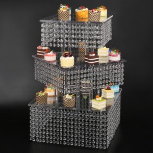 diagonal Cupcake Stand 3 Tier Large Square real crystal and Freestanding Style Cupcake Tower 160 Cupcakes Wedding center piece