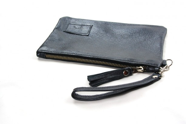 Metallic Gray Leather Wristlet with Tassel - Zipper Wristlet in Gray