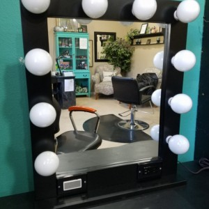 BLACK 24 x 28 Lighted Hollywood style Glamour vanity mirror