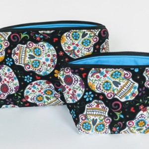 Small Matching Sugar Skull Travel Bag, Travel Cases, Cosmetic Bag, Zipper Bag, School Supply Bag, Organizer, Gift under 20